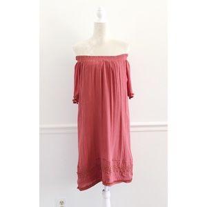 Loft Fringe Crochet Off Shoulder Smocked Dress